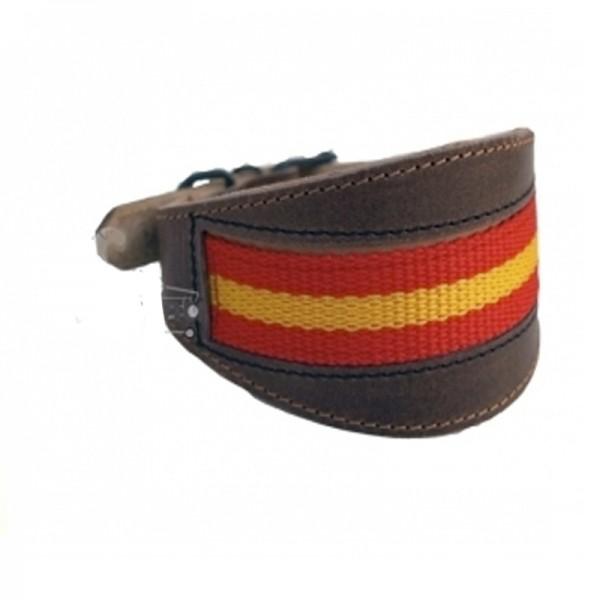 51e21cd24 Collar de cuero bandera España artesano para galgo comprar mejor precio