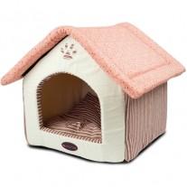 cama para perros Casita cama rayas y lunares