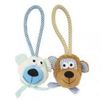 Caras de peluche con cuerda juguetes para perros lanzadores