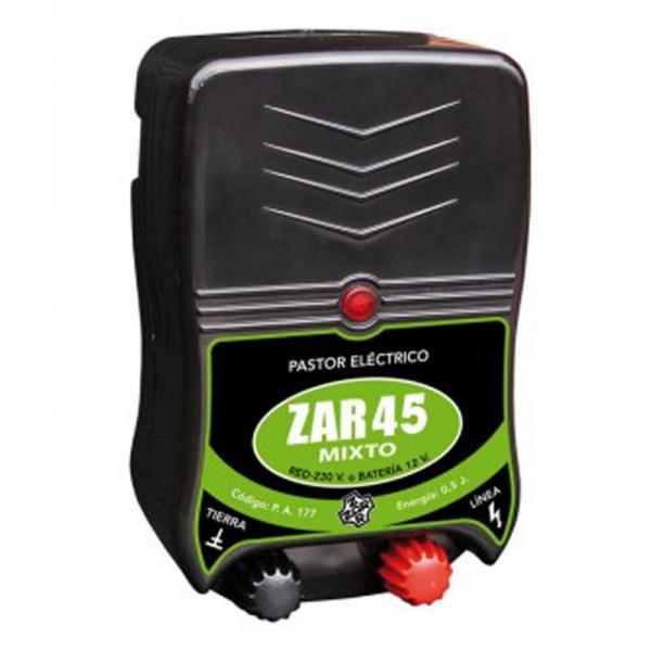 Pastor eléctrico Zar 45. 220v - 12v Mixto para perros gatos caballos vacas  , cercado eléctrico  a batería económico para animales