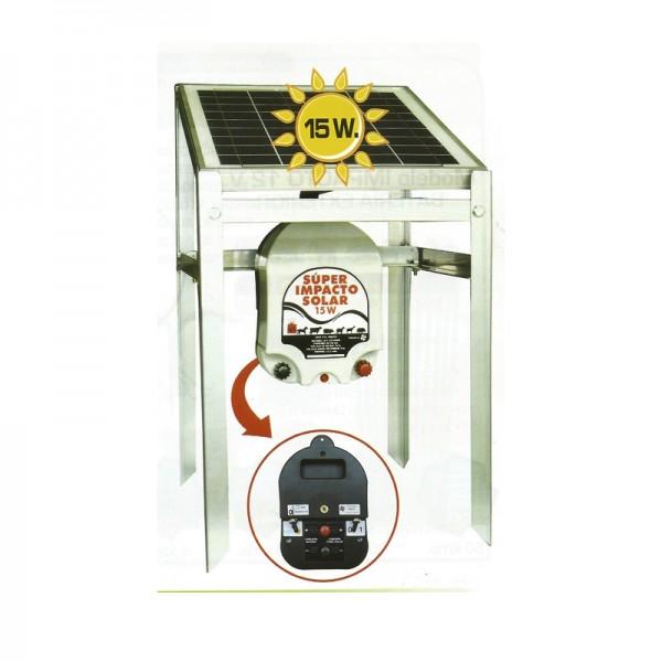 Electrificador Super-Impacto-Solar 15 W a batería exterior pastor eléctrico
