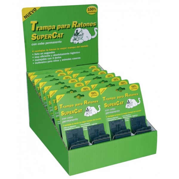 Expositor 28 Trampas para ratones eficaz Supercat con cebo permanente
