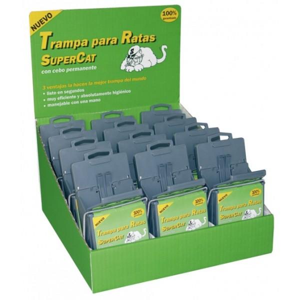 Expositor de 12 Trampas para ratas eficaz Supercat con cebo permanente